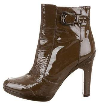 Fendi Patent Leather Round-Toe Ankle Boots