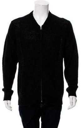 AllSaints Woven Zip-Up Cardigan