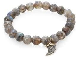 Sydney Evan Labradorite, Brown Diamond& Two-Tone Gold Rondelle Horn Bracelet