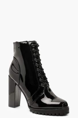 boohoo Patent Lace Up Block Heel Hiker Boots
