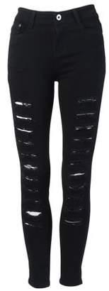 Walmart Sale Prices Fashion Hole Design Women Slim Figure Cotton Elastic Denim Pencil Pants Jeans Casual Elastic Stretchy Pants Trousers