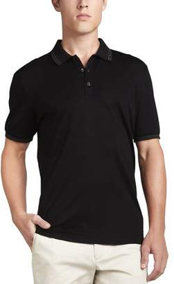 Salvatore Ferragamo Men's Cotton Pique 3-Button Polo Shirt with Gancini Detail on Collar, Black/Gray