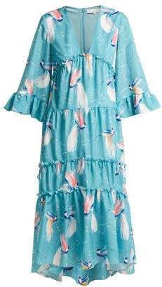 0fb89a02a0a973 Borgo de Nor Iris Birds Of Paradise Print Crepe Dress - Womens - Blue Print