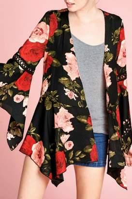 Oddi Floral Bell-Sleeve Cardigan