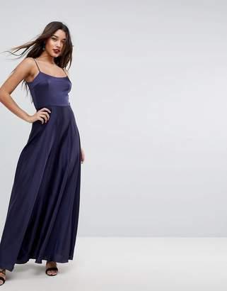 Asos Design Square Neck Cami Satin Maxi Dress