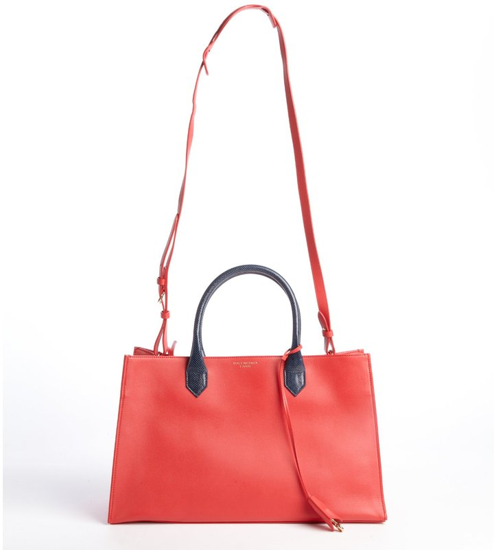 Balenciaga Red Leather Snakeskin Top Handle Tote Bag