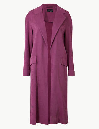 Marks and Spencer Textured Longline Open Front Duster Coat