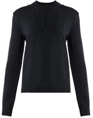 Saint Laurent Anchor Intarsia Knit Wool Sweater - Womens - Dark Navy
