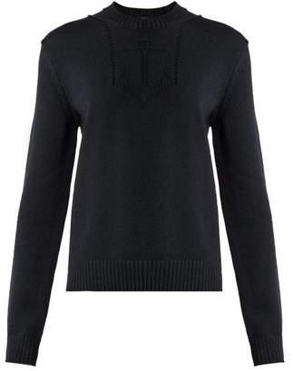 Saint Laurent - Anchor Intarsia Knit Wool Sweater - Womens - Dark Navy