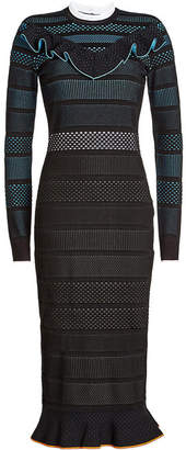 Versace Mesh Dress with Ruffled Trims