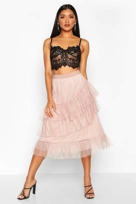 boohoo Layered Dobby Mesh Tulle Midi Skirt