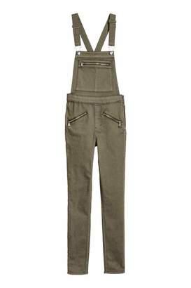 H&M Twill Bib Overalls - Khaki green - Women