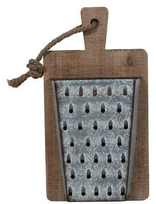 Gracie Oaks Wood and Metal Cheese Grater on Cutting Board Wall Dcor