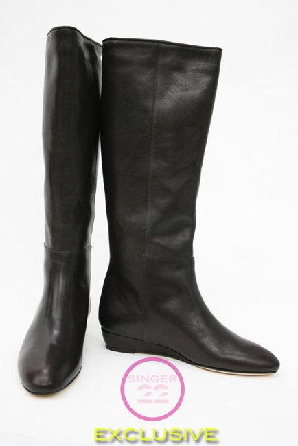 Loeffler Randall Chocolate Matilde Flat Boot  in stock!