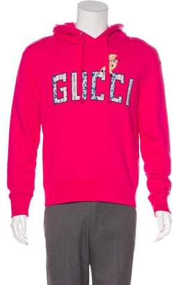 Gucci 2018 Oversize Floral Logo & Piglet Hoodie