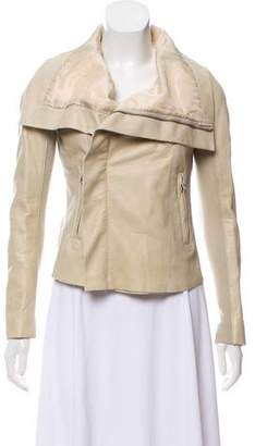 Rick Owens Rib Knit-Trimmed Long Sleeve Jacket
