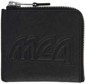 McQ Black Metal Logo Zip Wallet