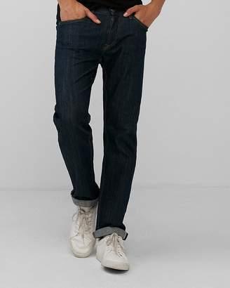 Express Slim Straight Dark Wash Selvedge Stretch Jeans