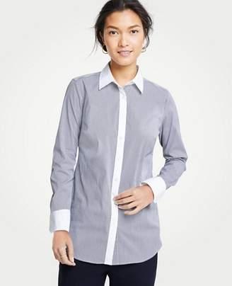 Ann Taylor Petite Striped Perfect Shirt