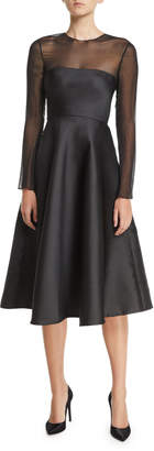 Jason Wu Chiffon-Top Long-Sleeve Fit-and-Flare Midi Cocktail Dress