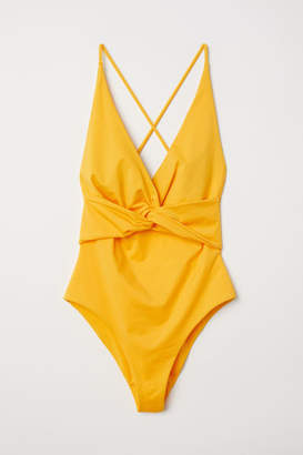 H&M Knot-detail Swimsuit - Yellow