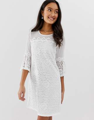 Qed London QED London lace mini dress with bell sleeve in white