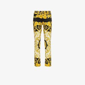 Versace Baroque Low-Rise Patterned Skinny Jeans