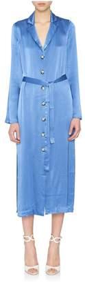 Staud Sandy Blue Satin Robe