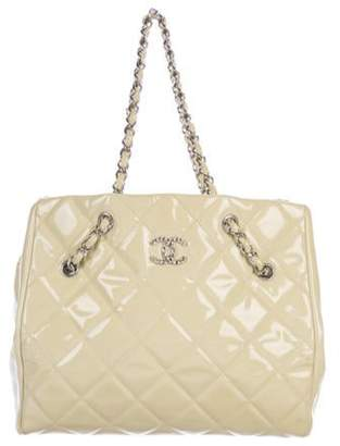 Chanel Cells Patent Leather Tote silver Cells Patent Leather Tote