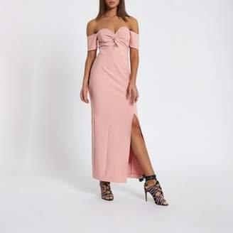 River Island Womens Pink knot front bardot maxi dress