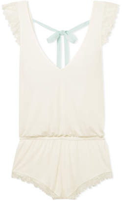 Eberjey Rosario Lace-trimmed Stretch-modal Jersey Playsuit - Ivory