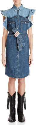 Semi-Couture Semicouture Belted Denim Shirtdress