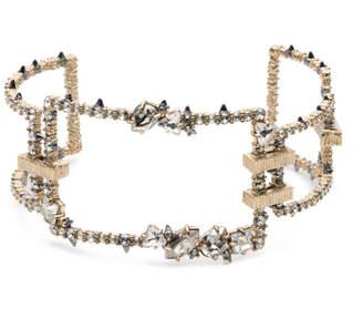 Alexis Bittar Crystal Encrusted Oversize Link Cuff Bracelet