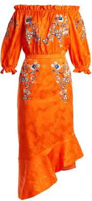 Saloni Grace off-the-shoulder embroidered silk dress