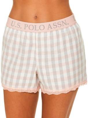 U.S. Polo Assn. Women's Plaid Flannel Pajama Lounge Shorts with Lace Trim