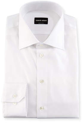 Giorgio Armani Solid Cotton Dress Shirt, White