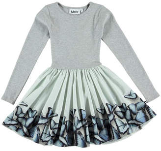 Molo Casie Rib-Knit Dress w/ Butterfly-Print Skirt, Size 3T-12