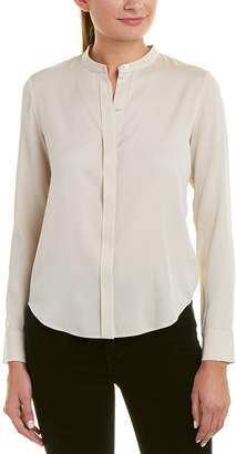Vince Band Collar Silk-Blend Blouse