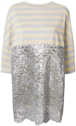 Antonio Marras striped lace-embroidered blouse