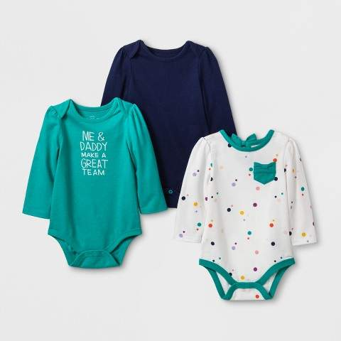 Cat & Jack Baby Girls' 3pk Long Sleeve Bodysuit Set - Cat & Jack Green/Cream