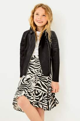 Next Girls Zebra Print Midi Skirt (3-16yrs) - Cream