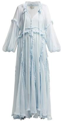 Lee Mathews - Bluebell Ruffled Silk Dress - Womens - Light Blue