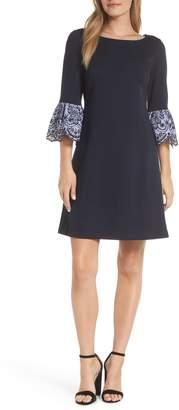 Eliza J Embroidered Bell Cuff Shift Dress