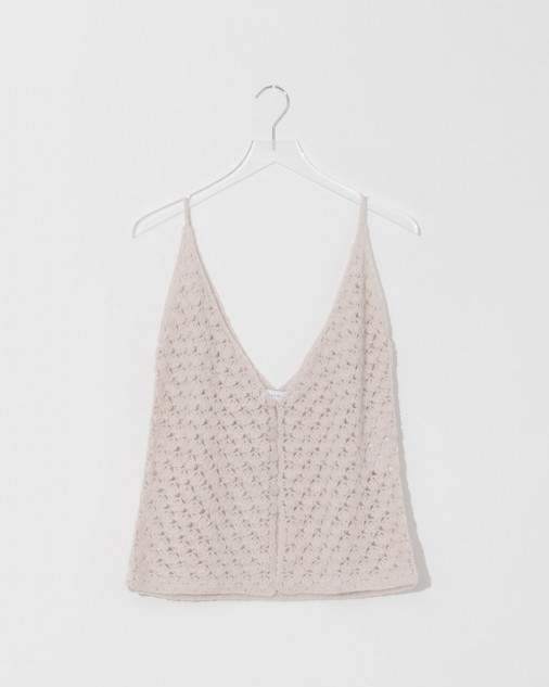 Ryan Roche Bone Buttoned Cashmere Crochet Top