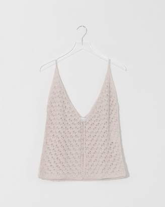 Modern Heritage Ryan Roche Bone Buttoned Cashmere Crochet Top