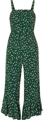 Faithfull The Brand Lea Cropped Ruffled Floral-print Crepe De Chine Jumpsuit