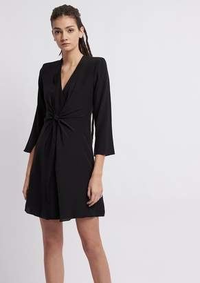 112fee9cd70 Emporio Armani Silk Crepe Dress With Tie On The Front