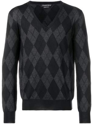 Alexander McQueen argyle V-neck jumper