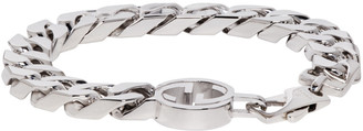Gucci Silver GG Logo Bracelet $485 thestylecure.com