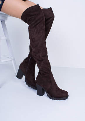 888a0e22074 Missy Empire Missyempire Odette Chocolate Suede Thigh High Heeled Boots